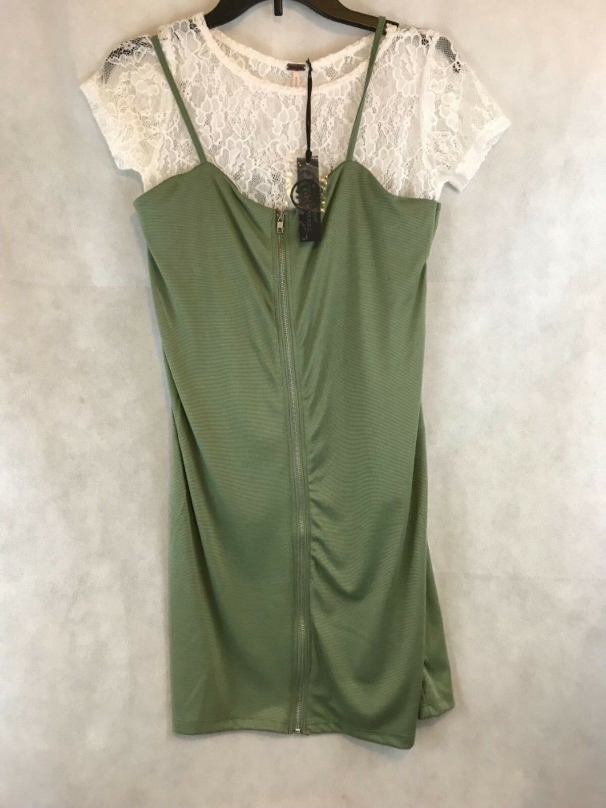 New Poof Apparel Lace Top Olive Green Dress Jumper Womens Size Medium