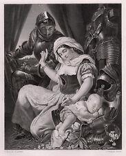 """LOOK Daniel MACLISE 1800s Antique Engraving """"Warrior's Cradle"""" SIGNED Framed COA"""
