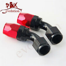 Black AN10 10-AN 45 degree swivel Hose End Fitting / Oil Fuel Line Adapter 2pcs