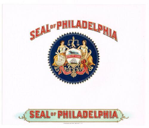 CIGAR BOX LABEL VINTAGE INNER C1930S SEAL OF PHILADELPHIA PENNSYLVANIA JUSTICE