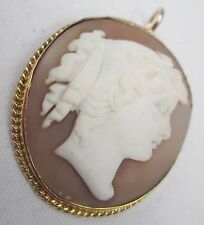 Victorian 9ct Gold Fine Hand Carved Shell Cameo Greek Goddess Pendant c 1880