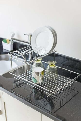 Two Tier Dish Drainer Kitchen Rack Draining Plates Cup Cutlery Utensil Drying