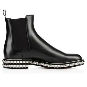 Christian-Louboutin-Orion-Boots-Black-Leather-Chelsea-Studded-Ankle-Booties-44