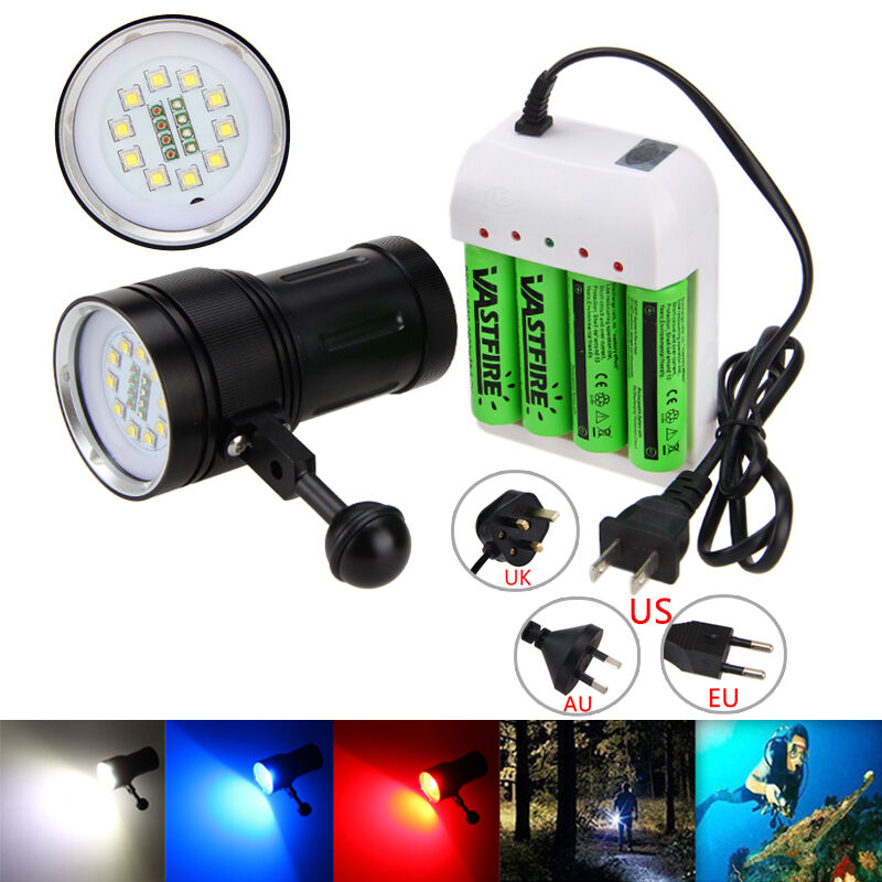 SCUBA Photography 20000LM 10x XM-L2+4Red+4bluee LED Dive Flashlight 4x18650