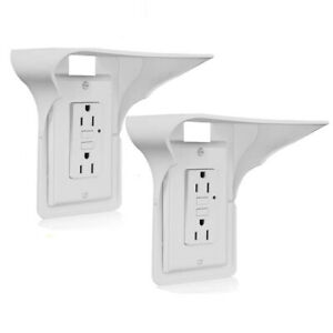 Durable-Wall-Outlet-Shelf-Holder-Charging-Socket-Power-Perch-Organizer-White