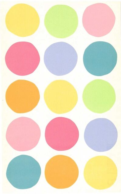 Mrs Grossman Sticker - VELLUM SPOTS (SMALL) Green Blue Yellow Pink Orange