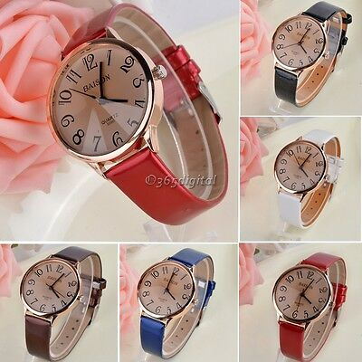 Lady Women Fashion Synthetic Leather Strap Quartz Sport Wrist Watch 35DI