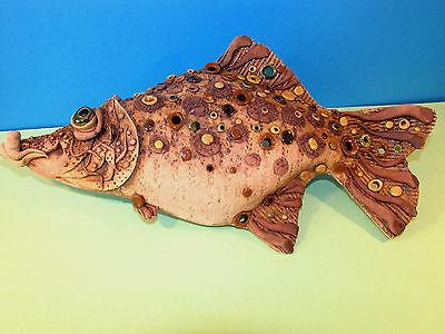 FISH PIKE CLAY WALL PENDANT HOME DECOR HANDMADE UNIQUE CUTE UNUSUAL CERAMIC GIFT