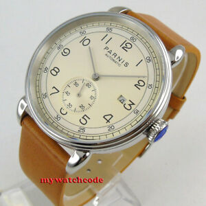42mm-PARNIS-beige-dial-Arab-mark-date-window-sea-gull-1731-automatic-mens-watch