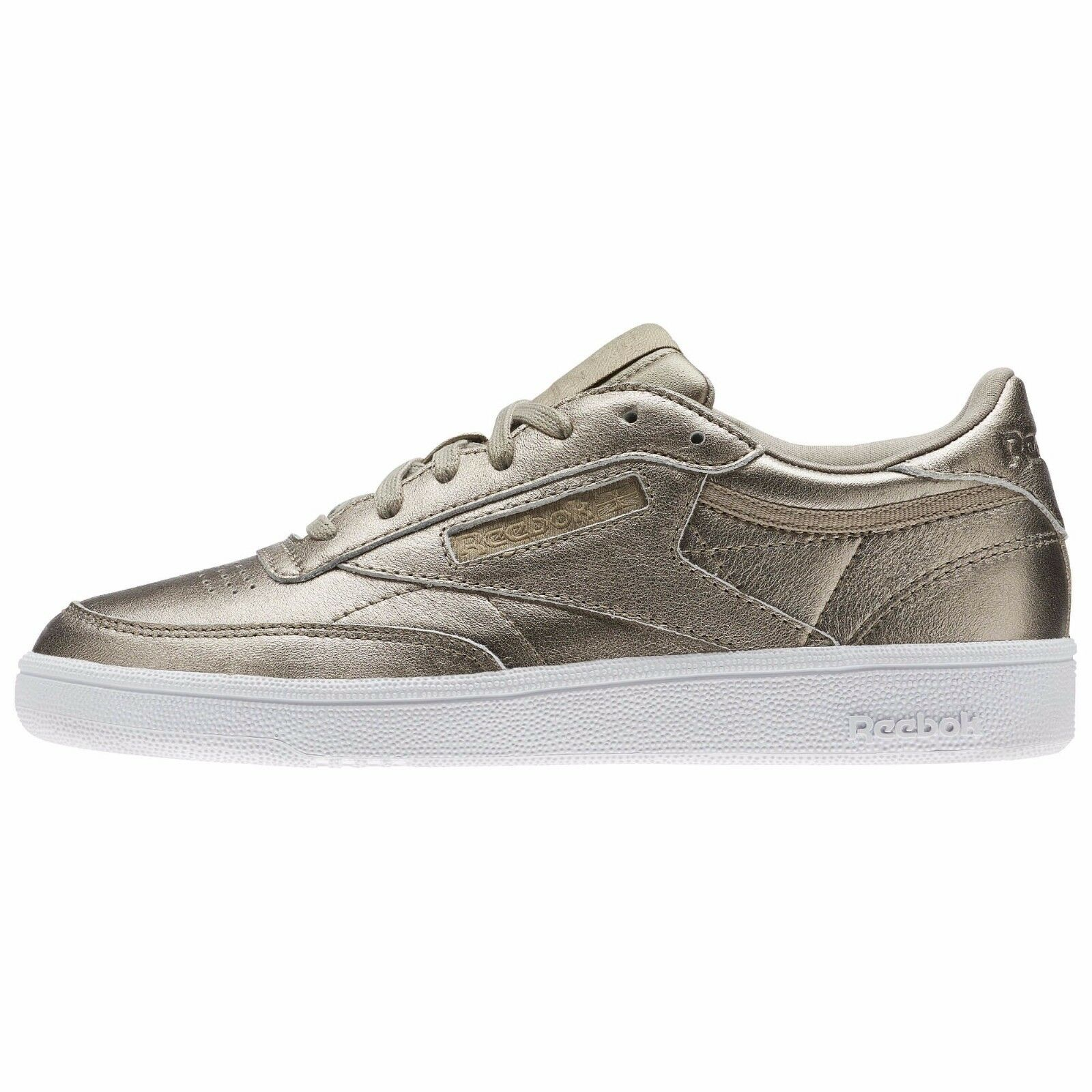 Reebok femmes  CLASSIC CLUB C 85 MELTED METAL LEATHER  Chaussures Gris  Gold BS7901 b