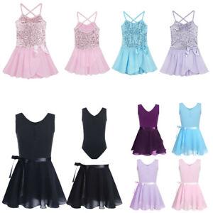 Girls-Sequins-Ballet-Dance-Tutu-Dress-Leotard-Gymnastics-Ballerina-Dancewear-UK