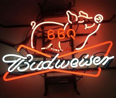 17 X14 New Budweiser Pig Coors Light Bbq Beer Bar Bud Barbecue Neon Sign Ebay