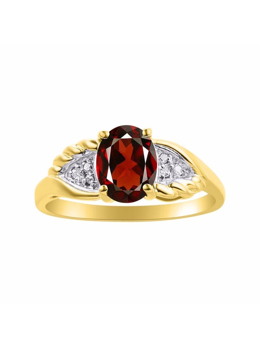 Diamond & Garnet Ring Set In 14K Yellow gold Diamond Wings Design LR6419GY-D