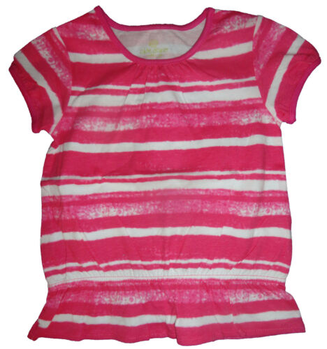 2T Infant Baby Girl Okie Dokie Pink /& White Striped Short Sleeve Top Sizes 3M