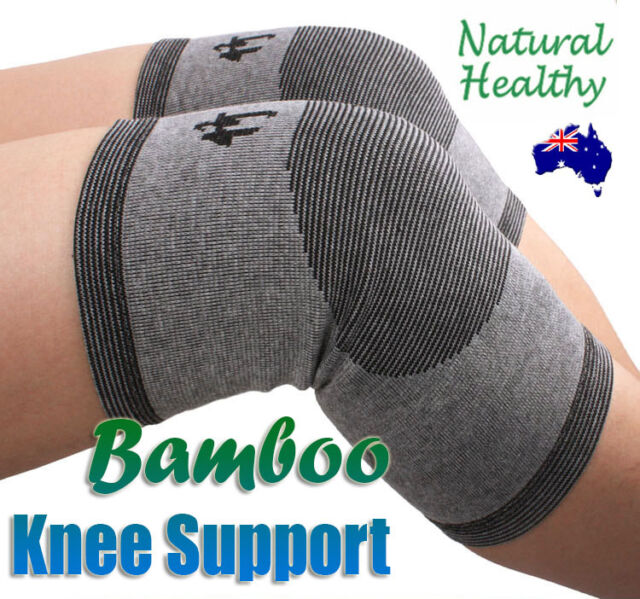 2PC Natural Bamboo Knee Brace Support Protection Guard Sports Health Fitness Gym