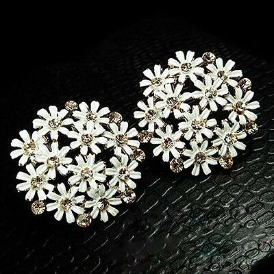 White Sun Flower Full Shining Crystal Hollow Round Ear Stud Earrings Women Gift