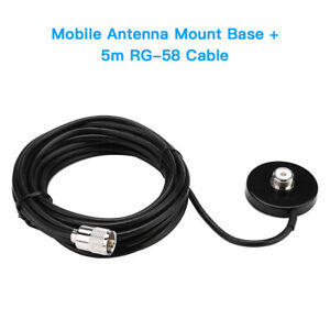Mobile-Car-Vehilce-Radio-Antenna-Magnetic-Mount-Base-Sucker-5m-RG-58-Cable-Kit