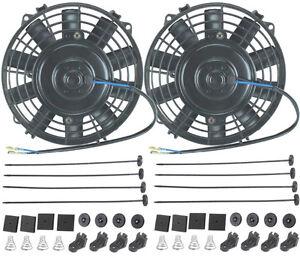 Dual 7 inch electric fans 12 volt atv car engine cooling for 12 volt window fan