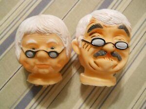 Grandma Grandpa Doll Head Pair Glasses Vinyl Nos