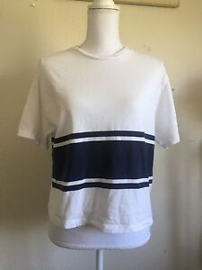 New-Brandy-Melville-white-navy-blue-striped-Aleena-top-NWT-sz-S-M