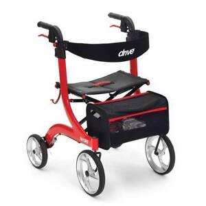 Drive Nitro Lightweight Folding 4 Wheel Rollator Walker Walking Frame with Seat