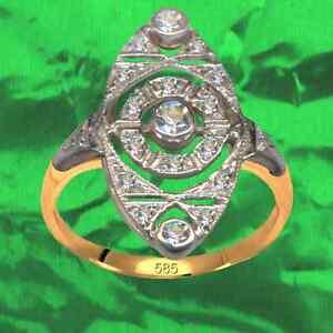 Antik-Stil-Art-Deko-Ring-Echt-585-Gelb-und-Weissgold-Originale-Diamanten