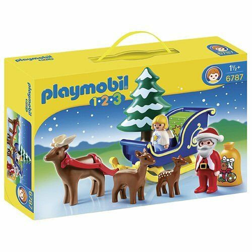 Playmobil 1.2.3 Santa Claus With Reindeer + + + Sleigh Christmas Playset 1ff10a