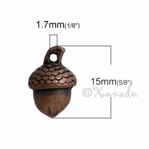Acorn Charm 15mm Antiqued Copper Autumn Pendants C2480-10 20 Or 50PCs