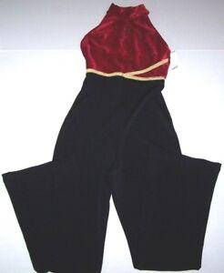 Nwt New GK Elite Unitard Bodysuit Black Stretch White Velvet Bodice $65 Women