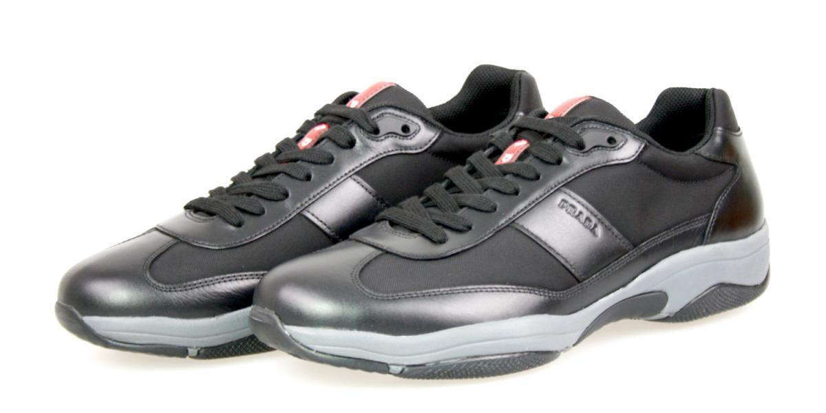 LUXURY PRADA AMERICAS CUP SNEAKERS SHOES 4E2911 BLACK NEW US 9