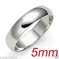 Solid Comfort Fit Plain Band Ring 14k White Gold 5mm
