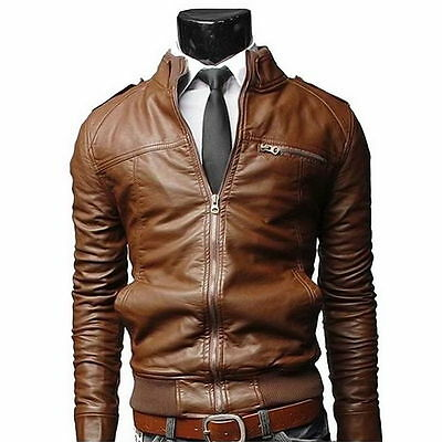 Slim Men's Zipper jackets Collar Motorcycle PU Leather Jacket Coat Outwear New