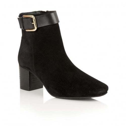 Ladies Ravel Moore Black Suede Leather Mid Heeled Ankle Boots UK 8
