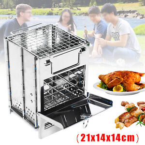Stainless Steel Camping Wood Alcohol Burning Stove Outdoor Picnic Barbecue USA