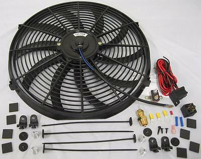 "16/"" Curved S-Blade Electric Radiator Cooling Fan w// Mounting Kit High CFM"