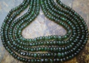 Emerald-3-5-4mm-diameter-FACETED-Rondelle-100-Precious-Gemstone-Beads-27Ct