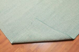 Details About 8 X 10 Hand Woven Restoration Hardware Look 100 Wool Flatweave Area Rug Green