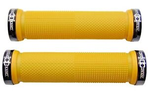 CRANK-CANDY-Dual-Knurl-Vice-Lock-On-YELLOW-Grip-Bike-Handle-Bar-Grips-MTB-XC-DH