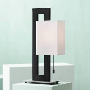 Details about Modern Accent Table Lamp Black Metal White Floating Box for  Living Room Bedroom