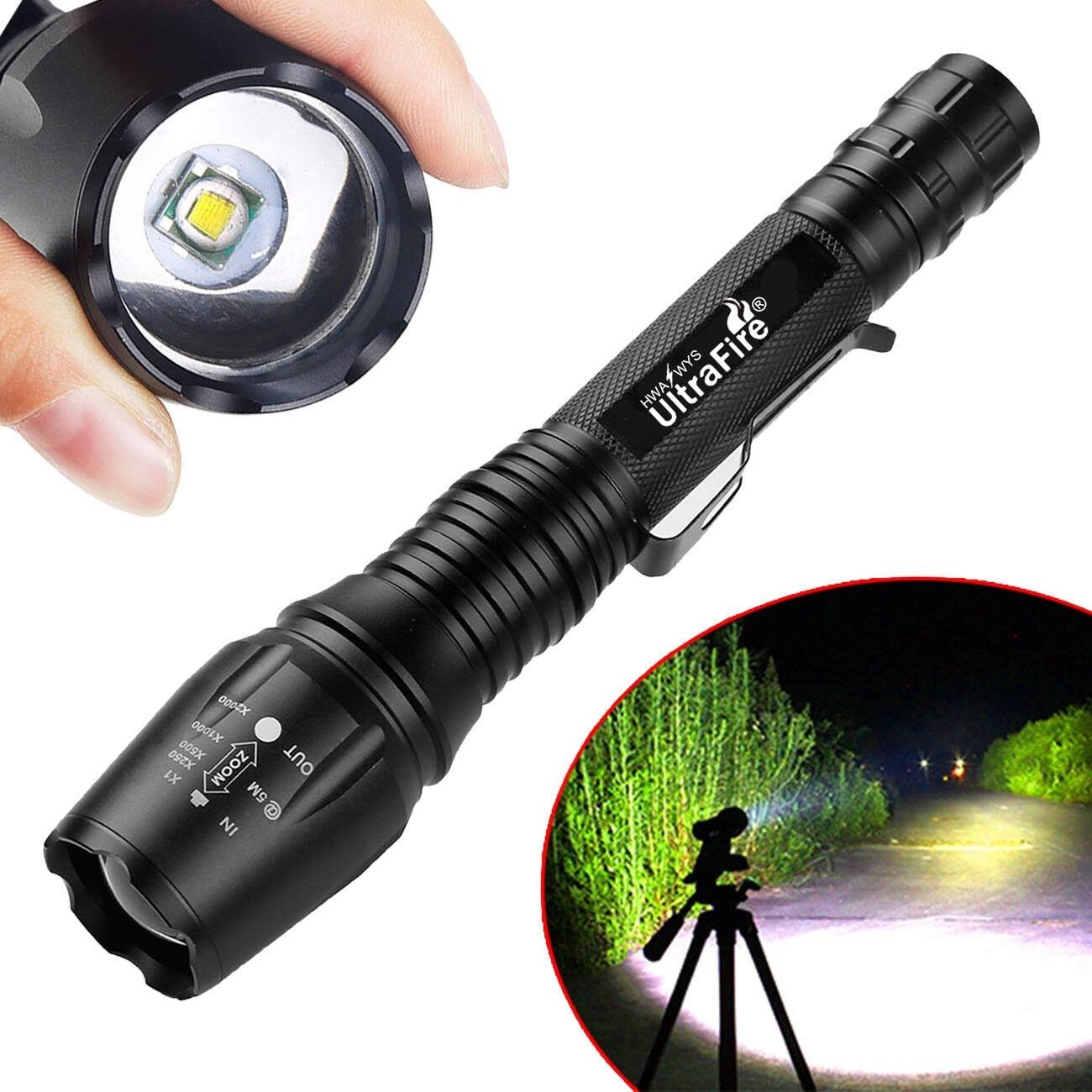 Outdoor Tactical 50000Lumens 5-Mode T6 LED Flashlight 2x18650BTY+1xCharger USA