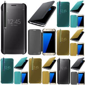 Housse-Coque-Etui-Silicone-Rabat-gel-Clear-View-Smart-Cover-Seri-Samsung-Galaxy