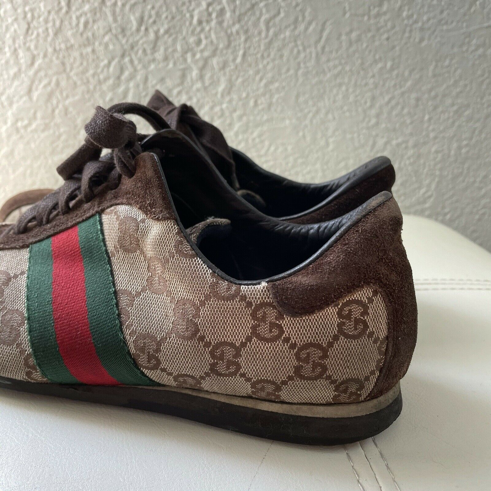 Vintage Classic Brown Green Red Gucci Logo Canvas… - image 8