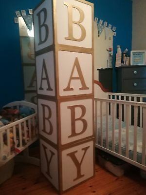Large Wooden Cubes Hollow BABY Birthday Wedding MDF Various Sizes Painted