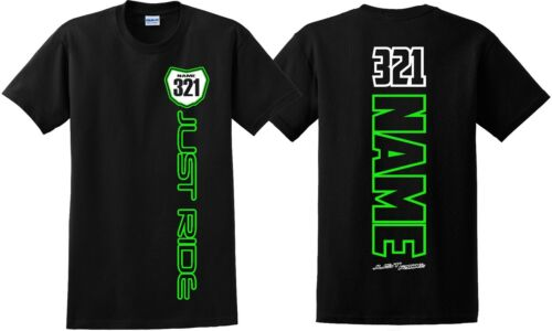 JUST RIDE CUSTOM NUMBER PLATE YOUTH T SHIRT CHILD MX MOTOCROSS PERSONALIZED