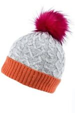 b214b31e573 Joules Fine Cable Bobble Hat With Faux Fur Pom - Light Grey for sale ...