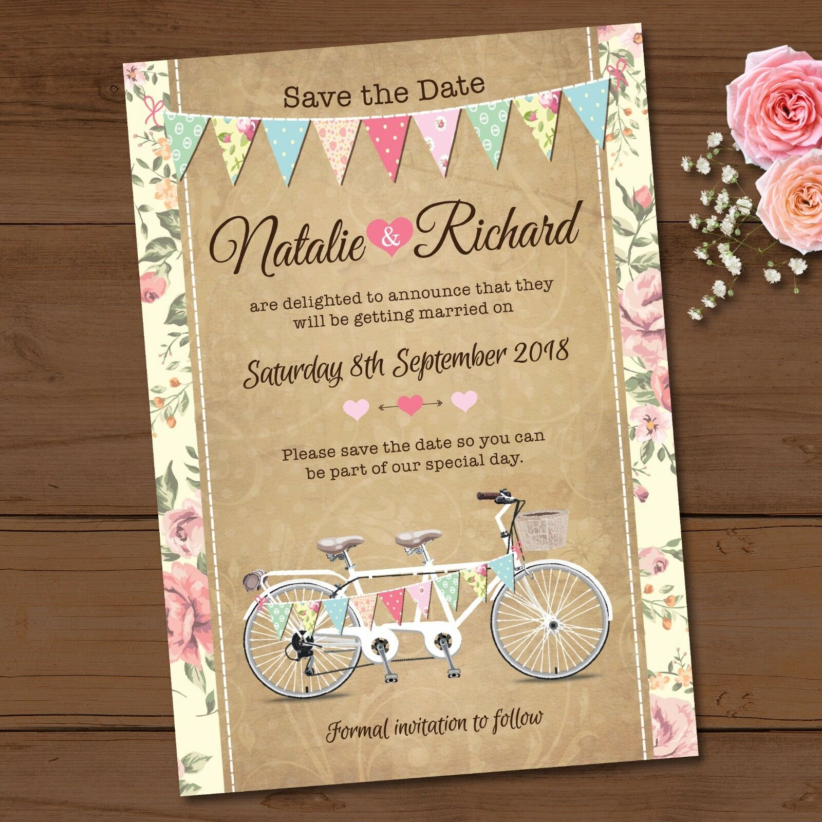 Personalised Wedding Day Save the Date Cards & Envelopes - Tandem ...