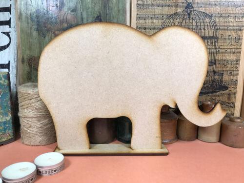 WOODEN ELEPHANT FREESTANDING SHAPE 30cm Stand Table Decoration Wood Blackboard