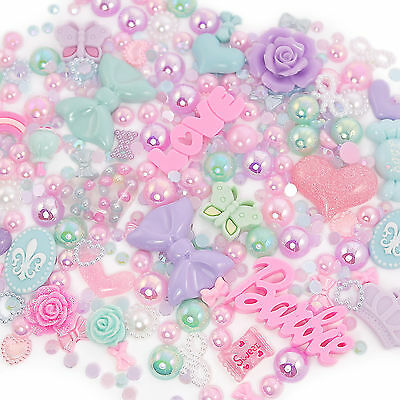 Pretty Pastel Sparkle Cabochon Rhinestone Pearl Set Kit DIY Decoden Kawaii Craft