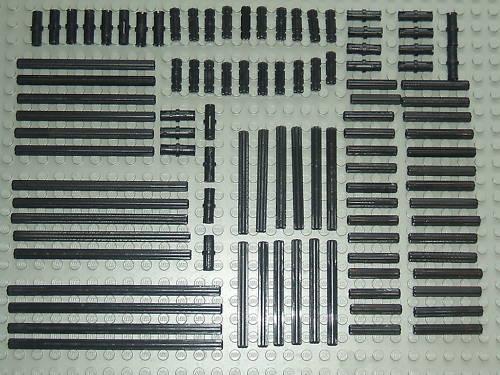 LEGO Technic 100 x black Axle /& épingle Ensemble une bonne sélection de tailles différentes