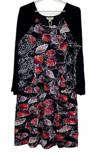 BNWT Orientique Womens Black Floral Long Sleeve Dress Size 14